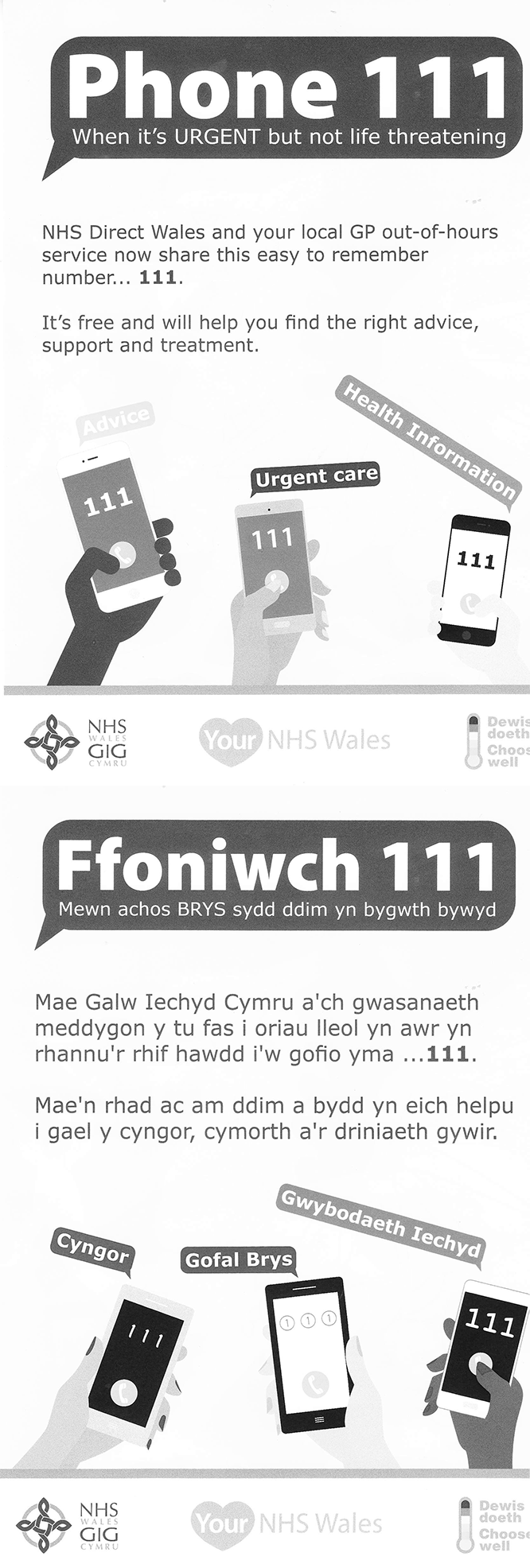 Phone 111 / Ffoniwch 111